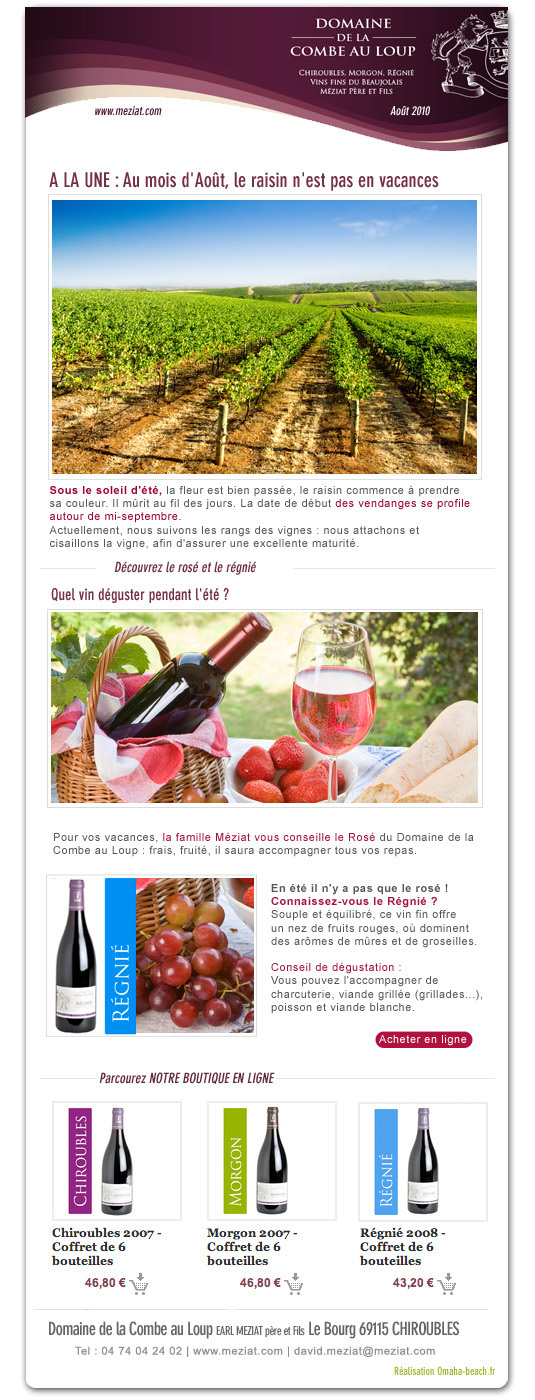 Newsletter Aout 2010