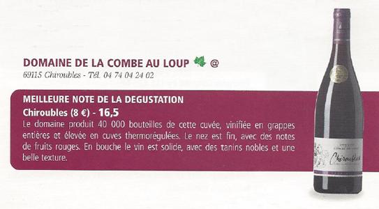 Notre Chiroubles 2013 à l'honneur dans le magazine Beaujolais Aujourd'hui